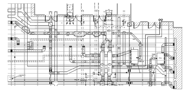, wall, vertical duct, variable bend, duct, valve, transitioning, reducing, duct, text label, supply air grill, strainer, straight duct, return, duct, rectangular outlet, pipe flow arrow, flow indicating assembly, flexible, connection, double door, door, damper, automatic 2-way valve, Y junction, duct,