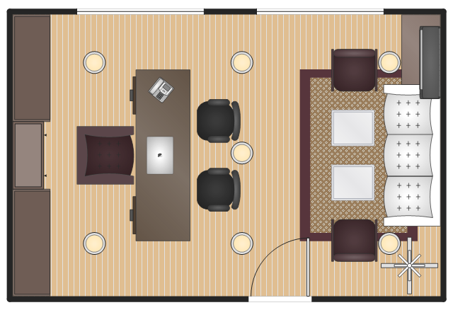 Layout example, window, casement, rectangular room, reception couch, hat and coat stand, guest chair, side chair with arms, side chair, chair, door, desk chair, desk, coffee table, buffet, hutch, bookcase, armchair, air conditioner, wall mounted, VoIP phone, MacBook Pro, LED ceiling lamp,