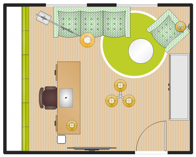 Layout example, window, casement, wastepaper basket, square waste can, waste can, wall lamp, table lamp, stationery cabinet, stadium, rectangular room, reception couch, pendant lamp, 3-armed, office table, round, office desk, floor lamp, door, desk chair, desk, circle, bookcase with glass doors, armchair, TV set, wall mounted, MacBook Pro,