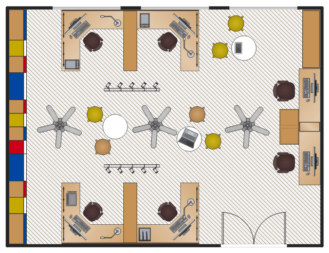 Layout example, workstation, 2 seats 5'x6', window, casement, tablet computer, stool, stadium, rectangular room, office table, round, magazine file, letter tray, laptop computer, keyboard, graphics tablet, fan, ceiling, double door, desk lamp, circle, cabinet with door, bookcase, all-in-one computer, U-bench, 2 seats, LED ceiling track, 5 spots,