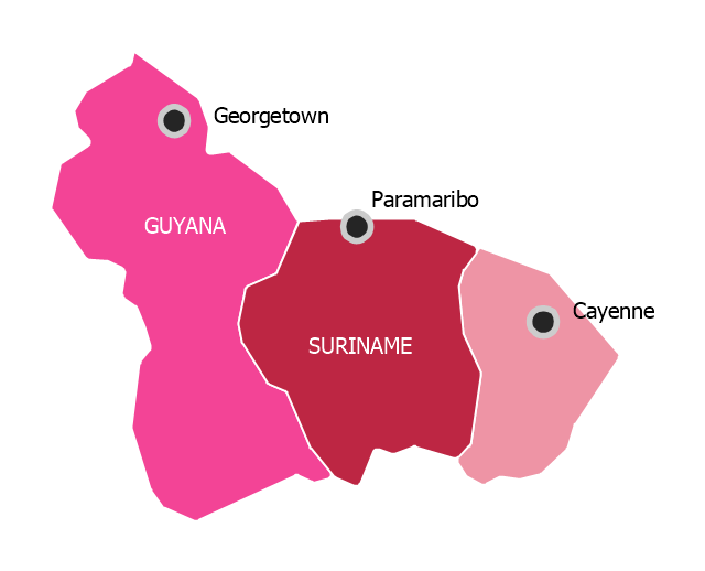 Political map - The Guianas , French Guiana,