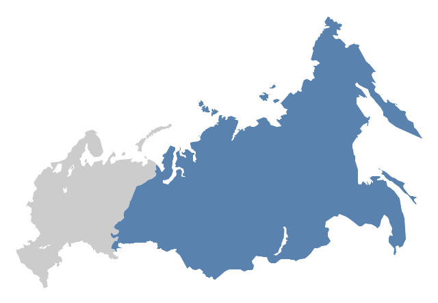 Political map - North Asia , Russia, Russian Federation, Asian part of Russia,