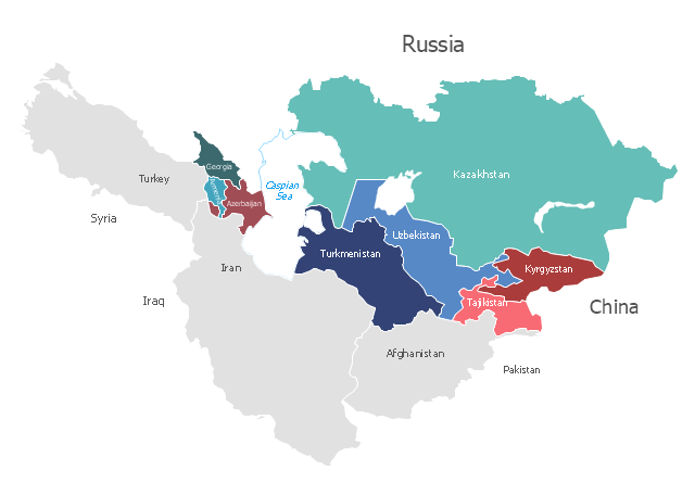 Political map - Caucasus and Central Asia 2000, Central Asia, Caspian sea,