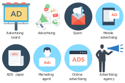 Icon set, spam, online advertising, mobile advertising, marketing agent, advertising board, advertising agency, advertising, ads paper,
