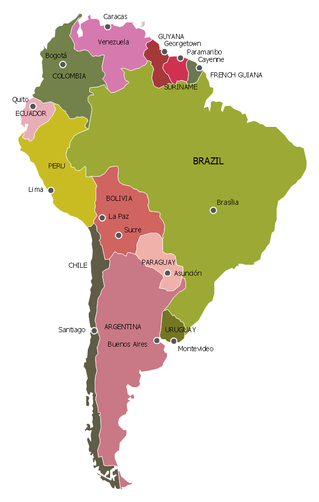 Political map South America South America South