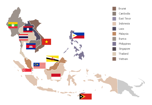 Political Map South East Asia.Southeast Asia Political Map Asia Flags Stencils Library