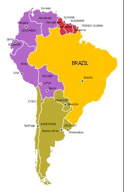 Political map - South America regions, South America, South America map,