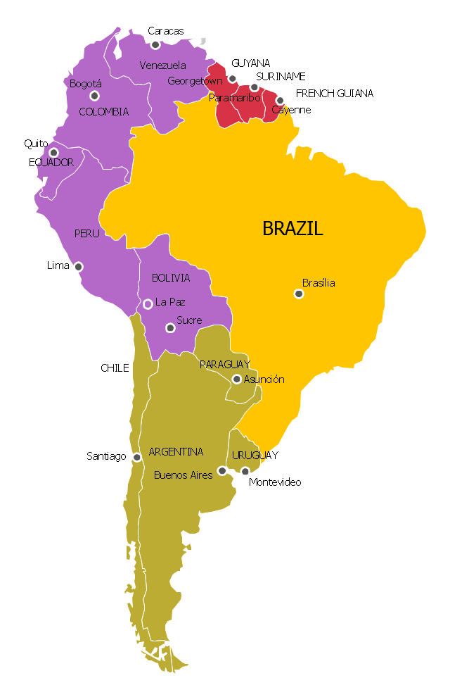 South America regions - Political map