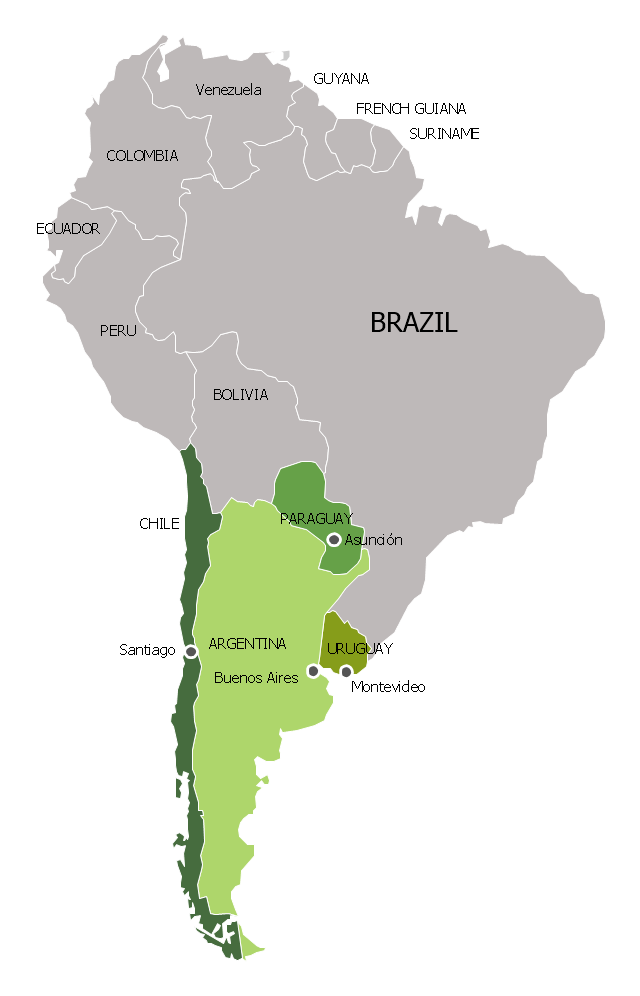 Political map - Southern Cone, South America, South America map,