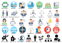 Icon set, underloaded resource, team work, staff search, speech, shareholder, stakeholder, salary allocation, round-table discussion, rally, presentation, partners, overdriven resource, organization, cooperation, negotiations, manager, leader, job vacancy, investor, interview, international connections, human resource, hr management, hierarchy, employee male, employee female, employed worker, department, staff, customer, conference, business team, business report, business meeting, business man, business link, boss chair, board of directors, available resource,