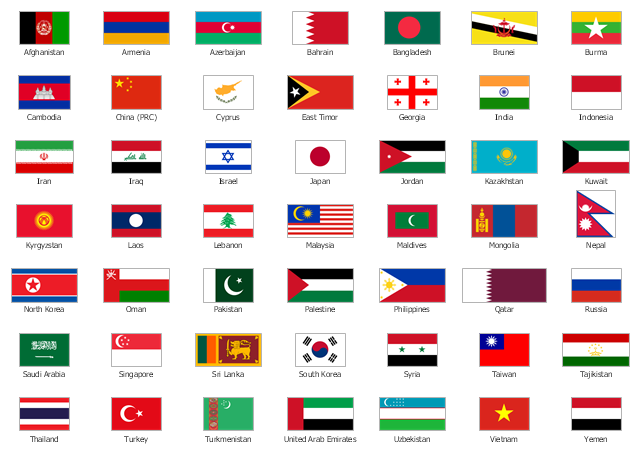 Asia state flags, Yemen, Vietnam, Uzbekistan, United Arab Emirates, UAE, Turkmenistan, Turkey, Timor Leste, East Timor, Thailand, Tajikistan, Taiwan, ROC, Republic of China, Syria, Sri Lanka, South Korea, Singapore, Saudi Arabia, Russia, Qatar, Philippines, Palestine, Pakistan, Oman, North Korea, Nepal, Mongolia, Maldives, Malaysia, Lebanon, Laos, Kyrgyzstan, Kuwait, Kazakhstan, Jordan, Japan, Israel, Iraq, Iran, Indonesia, India, Georgia, Cyprus, China, Cambodia, Burma, Myanmar, Brunei, Bangladesh, Bahrain, Azerbaijan, Armenia, Afghanistan,