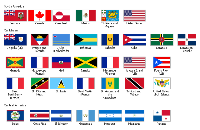 North and Central America state flags, United States, USA, United States Virgin Islands, U.S. Virgin Islands, USVI, Trinidad and Tobago, St. Vincent and the Grenadines, St. Pierre and Miquelon, St. Lucia, St. Kitts and Nevis, Saint Martin, Saint Barthélemy, Puerto Rico, Panama, Nicaragua, Navassa Island, Mexico, Martinique, Jamaica, Honduras, Haiti, Guatemala, Guadeloupe, Grenada, Greenland, El Salvador, Dominican Republic, Dominica, Cuba, Costa Rica, Canada, Bermuda, the Islands of Bermuda, the Bermudas, Somers Isles, Belize, Barbados, Bahamas, Aruba, Antigua and Barbuda, Anguilla,