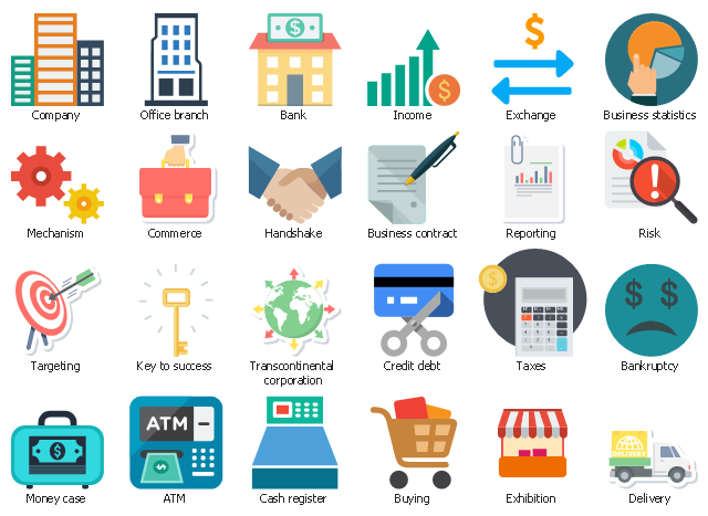 Icon set, transcontinental corporation, taxes, targeting, risk, reporting, office branch, money case, mechanism, key to success, income, handshake, agreement, exhibition, exchange, delivery, credit debt, company, firm, commerce, cash register, buying, business statistics, business contract, bankruptcy, bank, atm,