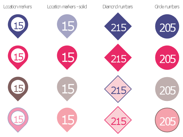 Typography infographics elements - Number blocks, numbers, location marker, numbers,
