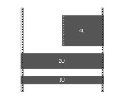 Rack with sample component sizes, rack unit, rack rails,