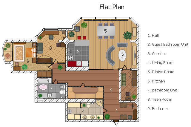 Floor Plan Design. Flat Design Floor Plan T