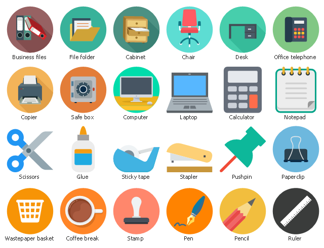 Icon set, wastepaper basket, sticky tape, stapler, stamp, scissors, safe box, ruler, pushpin, pencil, pen, paperclip, office telephone, notepad, laptop, glue, file folder, desk, copier, computer, coffee break, chair, calculator, cabinet, business files,