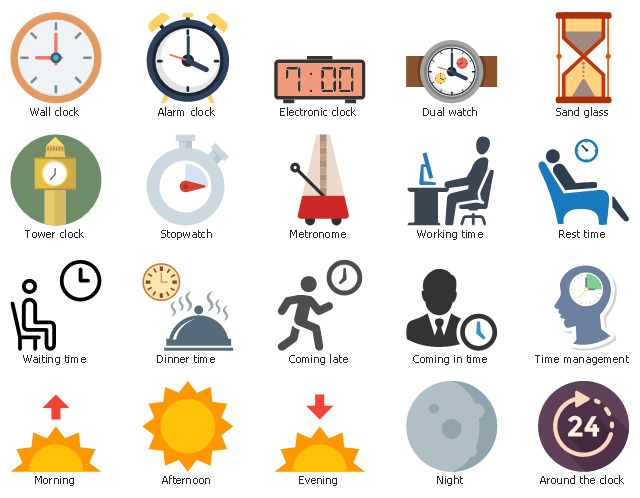 Icon set, working time, wall clock, waiting time, tower clock, time management, stopwatch, sand glass, rest time, night, morning, metronome, evening, electronic clock, dual watch, drawing shapes, dinner time, lunch time, coming late, coming in time, around the clock, alarm clock, afternoon,