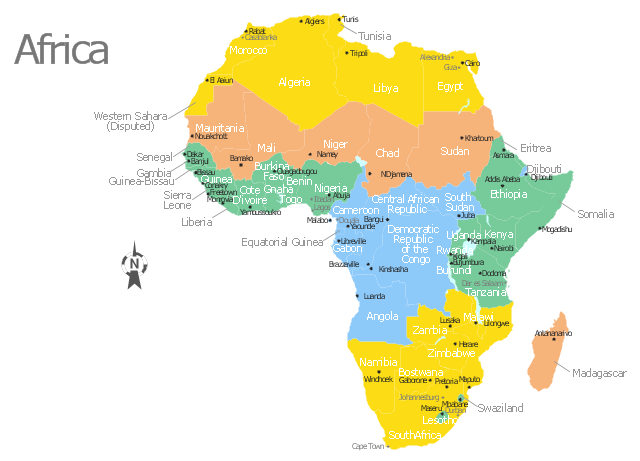 Africa map with countries main cities and capitals Template