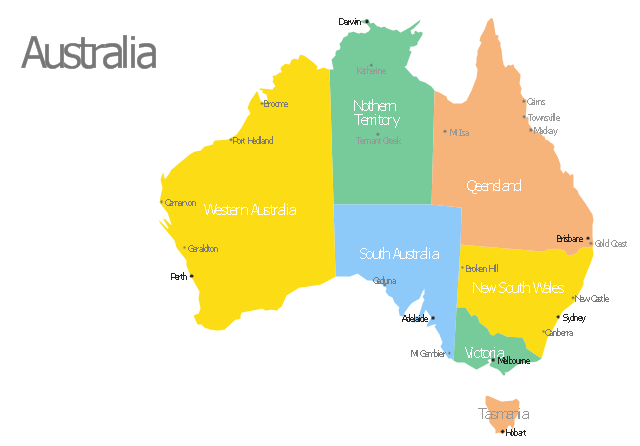 Australia Map With Cities Template - Map of australia with cities