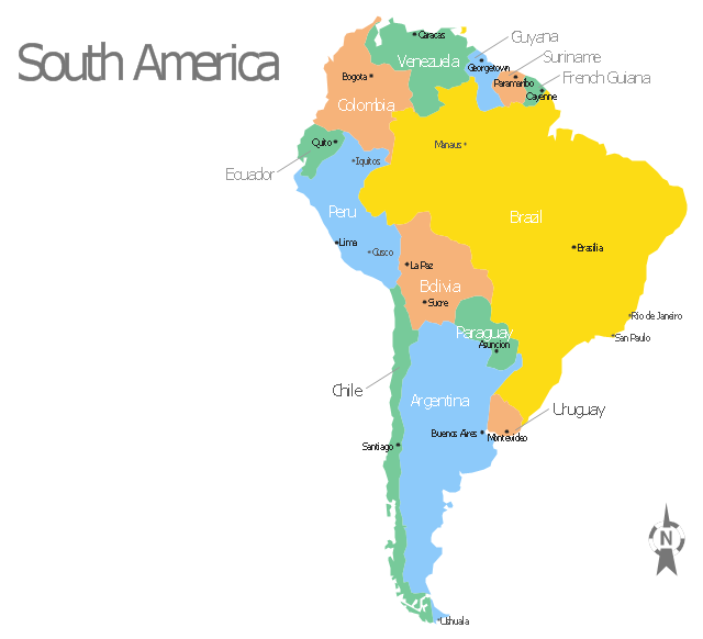 South America map with capitals - Template