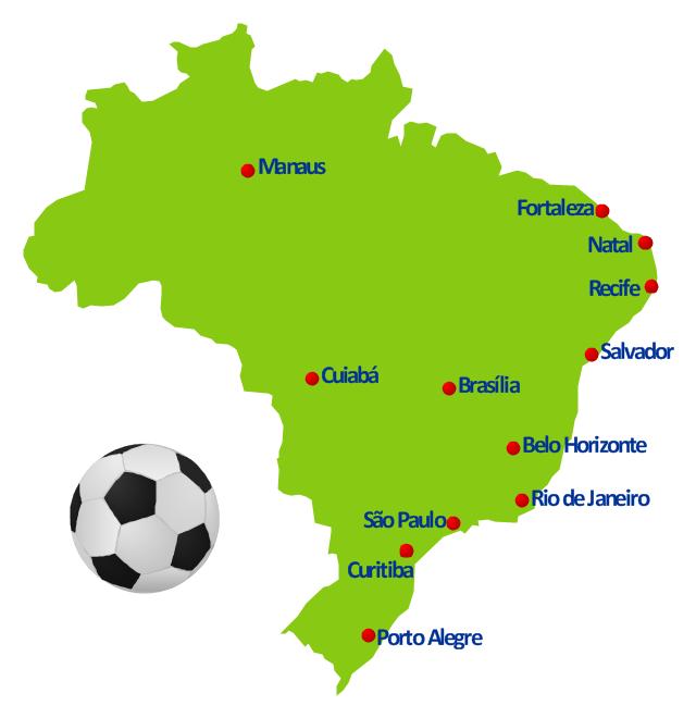 Geospatial infographics, soccer ball, Brazil,