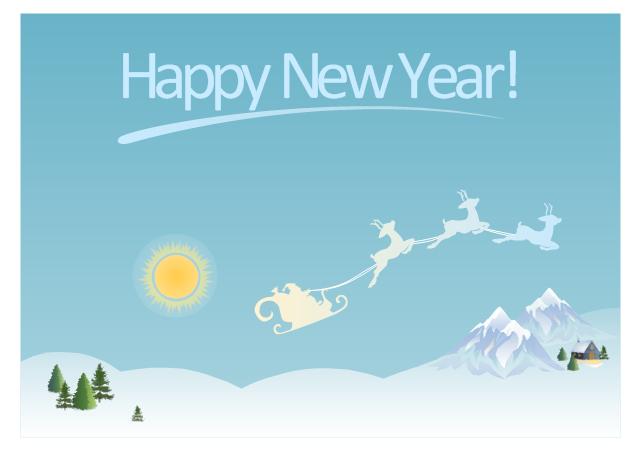 Vector illustration, tree, sunny, mountain, house under snow, Santa's sleigh, Christmas tree,