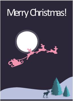 Vector illustration, elk, Santa's sleigh, Christmas tree,