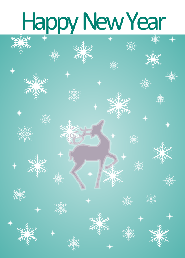Vector illustration, snowflake, deer,