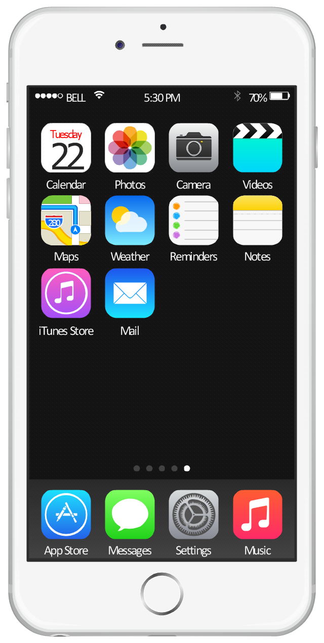 iPhone home screen with app icons, wifi icon, page control, iTunes Store icon, iPhone 6, bluetooth icon, Weather icon, Videos icon, Settings icon, Reminders icon, Photos icon, Notes icon, Music icon, Messages icon, Maps icon, Mail icon, Camera icon, Calendar icon, App Store icon,