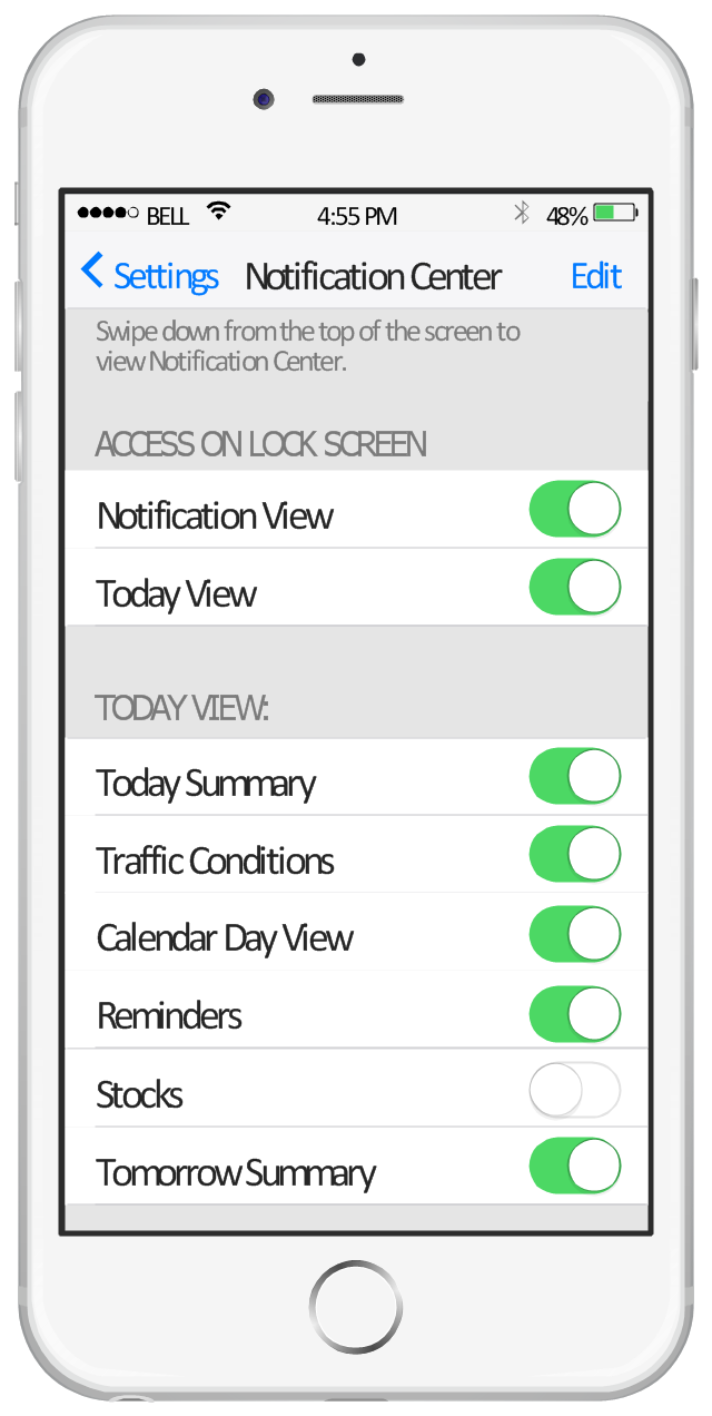 iPhone screen - Notification Center, wifi icon, table view cell, table view, switch on, switch off, status bar, navigation bar, menu bar, label, iPhone 6, button text label, bluetooth icon, back button,