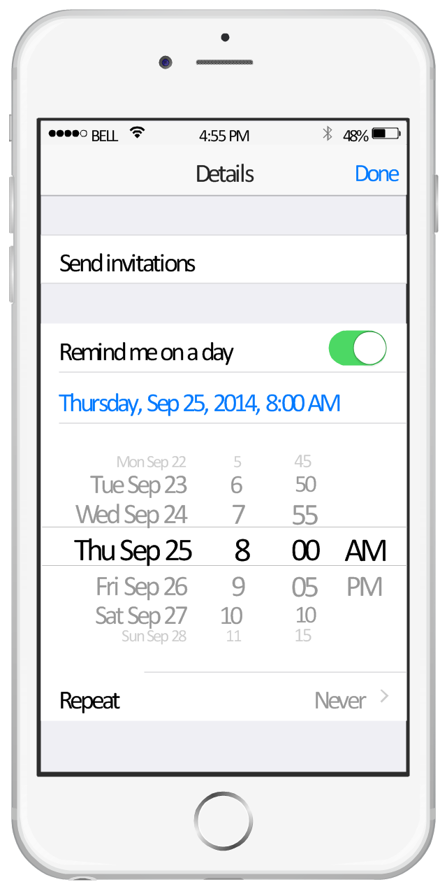 iPhone screen - Reminders, wifi icon, toolbar, table view cell, table view, switch on, status bar, iPhone 6, date picker, button text label, bluetooth icon,