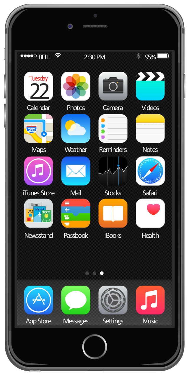 iOS 8 / iPhone 6 home screen - Template | iOS 8 / iPhone 6 home ...
