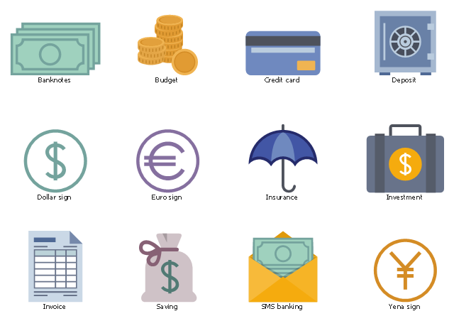 Financial icons, yena sign, sms banking, saving, invoice, investment, insurance, euro sign, dollar sign, deposit, credit card, budget, banknotes,