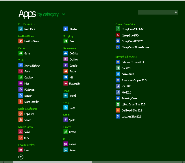 Apps screen, search icon, search box, scroll control, out icon, expand ribbon icon, Word 2013 icon, Weather icon, Visio 2013 icon, Viewer icon, Videos icon, Upload Center icon, Travel icon, Telemetry Center icon, Store icon, Spreadsheet icon, Sports icon, Sound Recorder icon