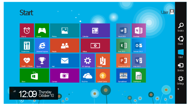 Start screen, user icon, user avatar, three bars icon, text label, normal select pointer, down icon, digital clock, charm bar, background , Word 2013 icon, Visio 2013 icon, Videos icon, Upload Center icon, Store icon, Start charm bar icon, Spreadsheet icon, Sports icon, SkyDrive icon, Share charm bar icon, Settings charm bar icon, Search charm bar icon, Readerr icon, PowerPoint 2013 icon, Photos icon, People icon, PC Settings icon, Outlook 2013 icon, OneNote icon, Mail icon, Internet Explorer icon, Health + Fitness icon, Games icon, Food + Drink icon, Exel 2013 icon, Devices charm bar icon, Dashboard icon, Camera icon, Calendar icon, Alarms icon,