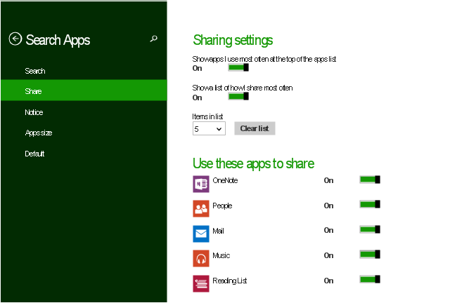 Sharing settings screen, toggle switch, text label, switch label, search icon, push button, previous icon, list item, editing text box, chevron, Reading List icon, People icon, OneNote icon, Music icon, Mail icon, App bar,