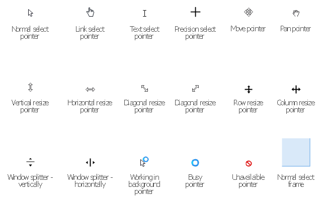 Interaction icons, working in background pointer, window splitter, vertical resize pointer, unavailable pointer, text select pointer, row resize pointer, precision select pointer, pan pointer, normal select pointer, normal select frame, move pointer, link select pointer, horizontal resize pointer, diagonal resize pointer, column resize pointer, busy pointer,