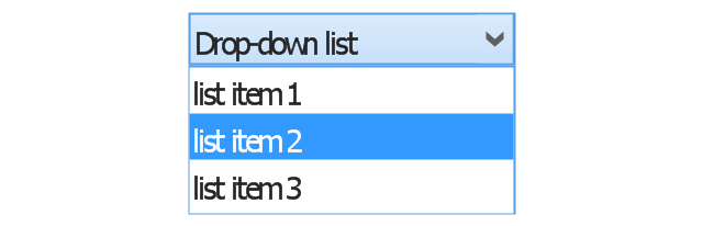 Combo box, list item, drop-down list, drop-down button, combo box,