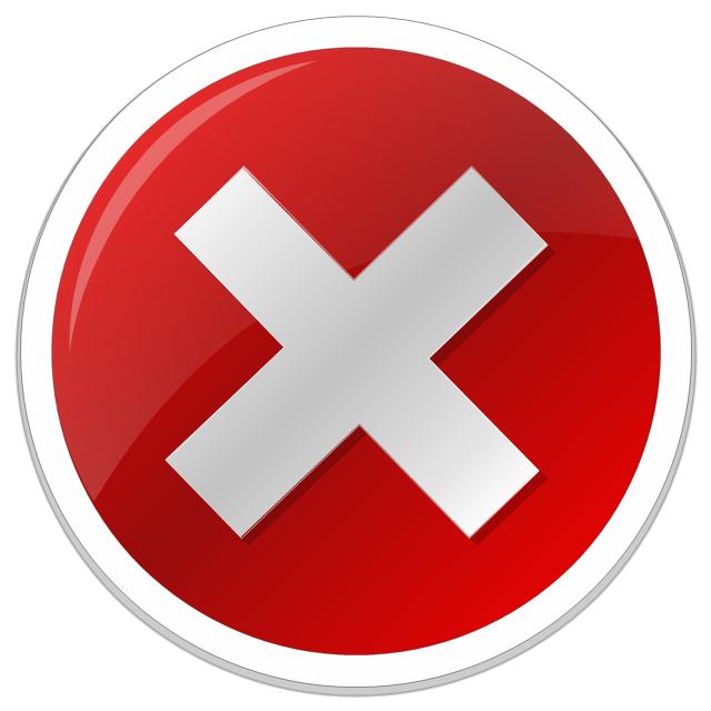 Error icon, error standard icon,