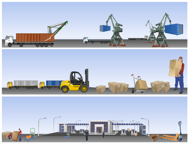 Vector illustration, trailer, container, trailer, ship, crane, packing, loading workmen, loading workman, warehouse worker, harbour crane, forklift cart, pallet truck, delivery, sack truck, hand truck cart, customs officer, crate, container, cart, cardboard, box, cardboard box, bucket loader, loader, border, border point,