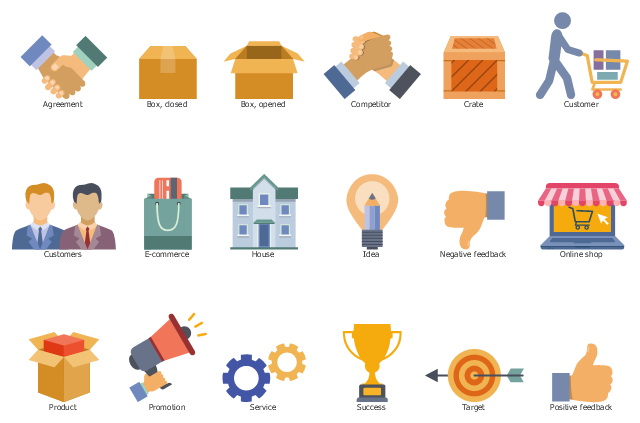 Icon set, target, success, service, promotion, product, positive feedback, thumbs up, online shop, negative feedback, thumbs down, idea, house, e-commerce, customers, customer, credit card, crate, competitor, box opened, box closed, agreement,