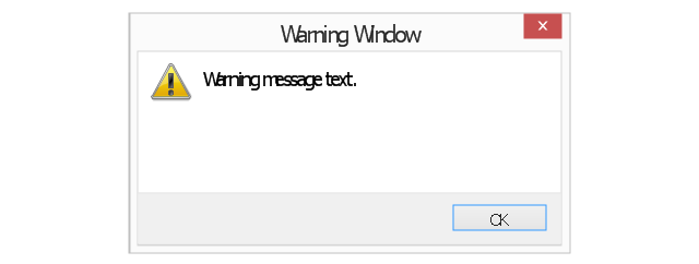 Warning message 2, warning message, normal text, icon overlay, default command button, command area, close window button,