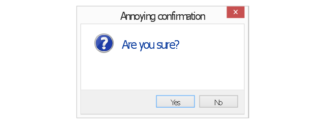 Annoying confirmation, standard command button, normal text, icon overlay, default command button, command area, close window button, annoying confirmation,