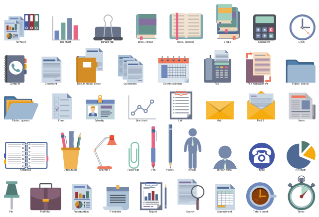 Icon set, timer, take a break, coffee cup, spreadsheet, search, report, reminder, presentation, portfolio, pin, pie chart, phone, person torso, person, pencil, pen, paper clip, overtime, office tools, notebook, news, mail, list, line chart, identity, employee badge, form, folder opened, folder closed, file management, fax, events calendar, documents, document collection, document, data archives, contacts, clock, calculator, books, book opened, book closed, binder clip, bar chart,
