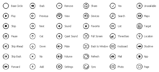 UI round icons, yes icon, volume icon, view icon, unavailable icon, target icon, sync icon, stop icon, skip back icon, skip ahead icon, share icon, search icon, remove icon, refresh icon, quiet sound icon, previous icon, play icon, pause icon, page icon, out icon, no icon, next icon, mute icon, mail icon, list icon, keyboard icon, full screen icon, forward icon, favorite icon, down icon, devices icon, back to window icon, back icon, add icon, Three Bars icon, Sound icon, SkyDrive icon, Settings icon, Photo icon, Maps icon, Location icon, Base Circle icon, App icon,