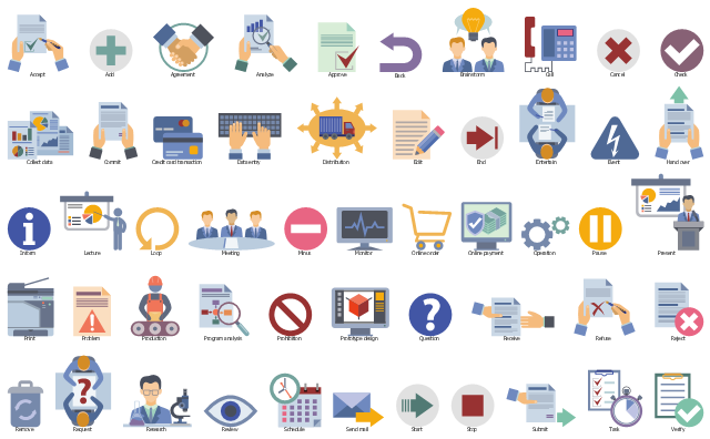 Icon set, verify, truck, task, submit, stop, start, send mail, schedule, review, research, request, remove, waste bin, reject, refuse, receive, question sign, question, prototype design, modeling, prototyping, prohibition, program analysis, production, manufacturing, problem, print, office printer, present, pause, operation, online payment, online order, monitor, minus, meeting, loop, light bulb, lecture, inform, hand over, event, entertain, end, edit, distribution, data entry, keyboard, credit card transaction, commit, collect data, check, cancel, call, brainstorm, back, approve, analyze, agreement, add, accept,