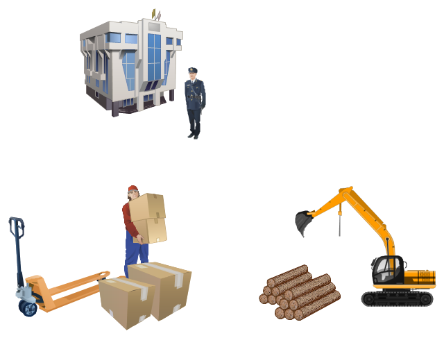 Vector illustration, wood, loading workman, forklift truck, excavator, customs officer, customs office, cardboard, box,