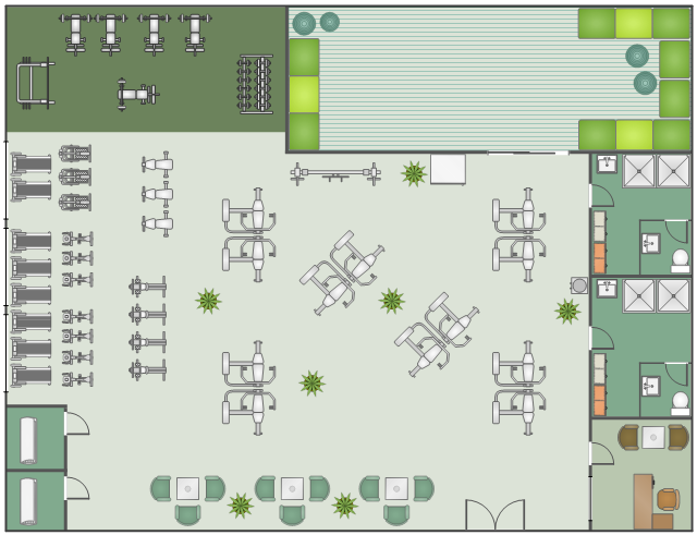 Gym layout, window, casement, weight bench, water cooler, wall, upright bicycle, stationary bike, treadmill, toilet, tanning bed, stair stepper, stair climber, shower, self spotting, rowing machine, room, refrigerator, upright freezer, multi purpose bench, multi press, multipress, mat, house plant, potted plant, glass square table, glass table, exercise ball, dumbbell rack, dumbbell, double dresser, double door, door, desk, left hand return, crossover machine, chair with arms, by-pass door, basin,