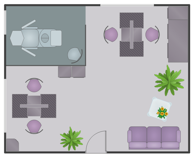 Floor plan, yellow tulips flowers, window, casement, wall corner, corner wall cabinet, wall, sofa, room, pedicure, glass square table, glass table, garden fern, green garden plants, drawing shapes, double, style station, door, chair, base cabinet, base,